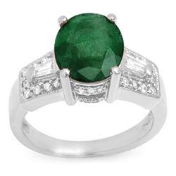 4.55 CTW Emerald & Diamond Ring 14K White Gold - REF-77N8Y - 10957