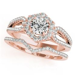 1.6 CTW Certified VS/SI Diamond 2Pc Wedding Set Solitaire Halo 14K Rose Gold - REF-392F2M - 31155
