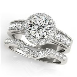 2.21 CTW Certified VS/SI Diamond 2Pc Wedding Set Solitaire Halo 14K White Gold - REF-432F9M - 31313