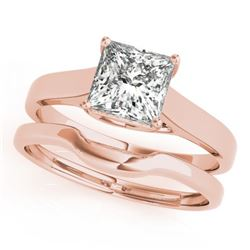 0.75 CTW Certified VS/SI Princess Diamond 2Pc Wedding Set 14K Rose Gold - REF-204K5R - 32103