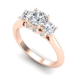 1.5 CTW VS/SI Diamond Solitaire Art Deco 3 Stone Ring 18K Rose Gold - REF-236T4X - 37314