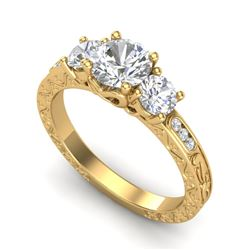 1.41 CTW VS/SI Diamond Solitaire Art Deco 3 Stone Ring 18K Yellow Gold - REF-263K6R - 37009