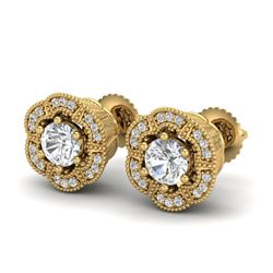 1.51 CTW VS/SI Diamond Solitaire Art Deco Stud Earrings 18K Yellow Gold - REF-263T6X - 37108