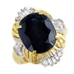 8.51 CTW Blue Sapphire & Diamond Ring 14K Yellow Gold - REF-69H3W - 13228