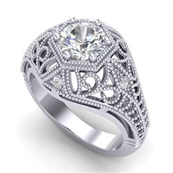 1.07 CTW VS/SI Diamond Art Deco Ring 18K White Gold - REF-345F2M - 36917
