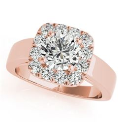 1.3 CTW Certified VS/SI Diamond Solitaire Halo Ring 18K Rose Gold - REF-258T8X - 26896
