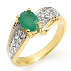 1.43 CTW Emerald & Diamond Ring 10K Yellow Gold - REF-46X4T - 13378