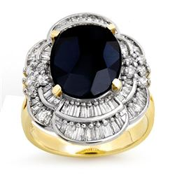 7.85 CTW Blue Sapphire & Diamond Ring 14K Yellow Gold - REF-135R5K - 13076
