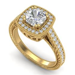 1.77 CTW Cushion VS/SI Diamond Art Deco Ring 18K Yellow Gold - REF-445H5W - 37033