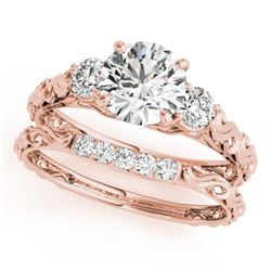 0.89 CTW Certified VS/SI Diamond 3 Stone 2Pc Wedding Set 14K Rose Gold - REF-119R8K - 32049