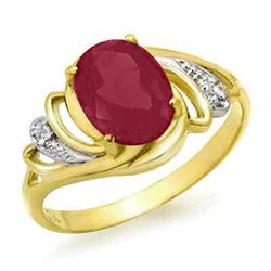 2.25 CTW Ruby & Diamond Ring 14K Yellow Gold - REF-35W3H - 13870