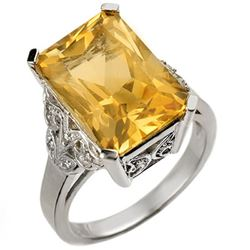 9.20 CTW Citrine & Diamond Ring 14K White Gold - REF-52R2K - 10941