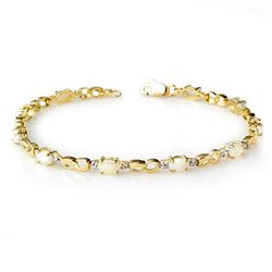 1.26 CTW Opal & Diamond Bracelet 10K Yellow Gold - REF-28W2H - 13024