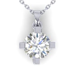 1 CTW Certified VS/SI Diamond Solitaire Necklace 14K White Gold - REF-270K3R - 30402