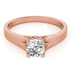 1 CTW Certified VS/SI Diamond Solitaire Wedding Ring 18K Rose Gold - REF-300H6W - 27793