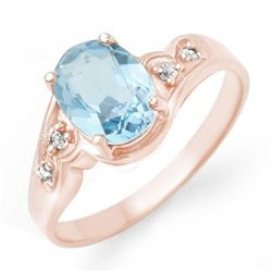 1.26 CTW Blue Topaz & Diamond Ring 18K Rose Gold - REF-31X8T - 12352