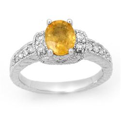 2.25 CTW Yellow Sapphire & Diamond Ring 14K White Gold - REF-64T8X - 14192