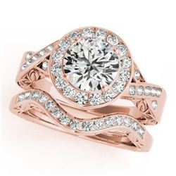 1.89 CTW Certified VS/SI Diamond 2Pc Wedding Set Solitaire Halo 14K Rose Gold - REF-588R2K - 31308