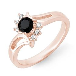 0.53 CTW Vs Certified Black & White Diamond Ring 14K Rose Gold - REF-32H2W - 14007