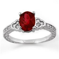 2.27 CTW Rubellite & Diamond Ring 18K White Gold - REF-73X3T - 11125