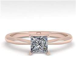 0.55 CTW Princess Cut VS/SI Diamond Engagement Designer Ring 18K Rose Gold - REF-102Y2N - 32393