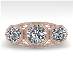 2 CTW Past Present Future VS/SI Diamond Ring 18K Rose Gold - REF-421M6F - 36062