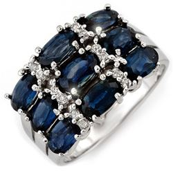 3.15 CTW Blue Sapphire & Diamond Ring 18K White Gold - REF-65T5X - 11585