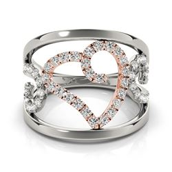 0.50 CTW Certified VS/SI Diamond Designer Fashion Ring 18K White & Rose Gold - REF-75K6R - 28269
