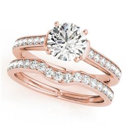 1.83 CTW Certified VS/SI Diamond Solitaire 2Pc Wedding Set 14K Rose Gold - REF-400N9Y - 31641