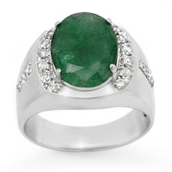 6.33 CTW Emerald & Diamond Mens Ring 10K White Gold - REF-71K5R - 13416