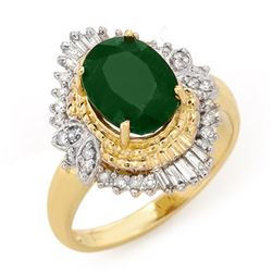 2.58 CTW Emerald & Diamond Ring 14K Yellow Gold - REF-56M4F - 13399