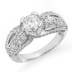 1.90 CTW Certified VS/SI Diamond Ring 18K White Gold - REF-274K5R - 11614