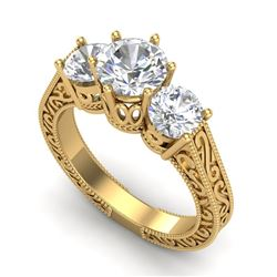 2.01 CTW VS/SI Diamond Solitaire Art Deco 3 Stone Ring 18K Yellow Gold - REF-527T3X - 36931