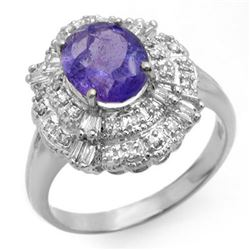 2.70 CTW Tanzanite & Diamond Ring 18K White Gold - REF-100N2Y - 13836