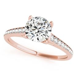 1.5 CTW Certified VS/SI Diamond Solitaire Ring 18K Rose Gold - REF-394R2K - 27463
