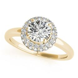 1 CTW Certified VS/SI Diamond Solitaire Halo Ring 18K Yellow Gold - REF-185W3H - 26478