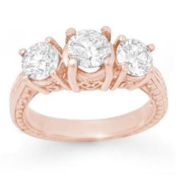 2.0 CTW Certified VS/SI Diamond 3 Stone Ring 14K Rose Gold - REF-323X3T - 13394