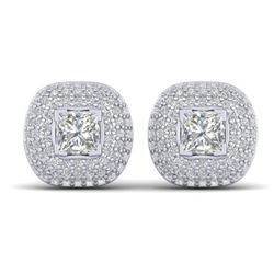 2 CTW Princess VS/SI Diamond Art Deco Stud Micro Halo Earrings 14K White Gold - REF-255X3T - 30447