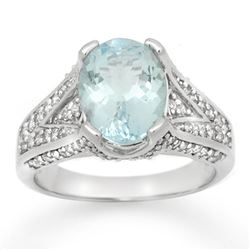 3.95 CTW Aquamarine & Diamond Ring 18K White Gold - REF-118X2T - 14508