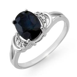 2.06 CTW Blue Sapphire & Diamond Ring 18K White Gold - REF-29H6W - 12387