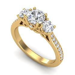 1.67 CTW VS/SI Diamond Solitaire Art Deco 3 Stone Ring 18K Yellow Gold - REF-281T8X - 37030