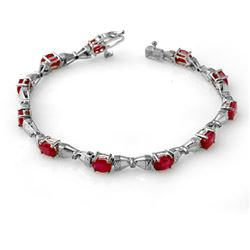 7.11 CTW Ruby & Diamond Bracelet 10K White Gold - REF-55T3X - 14009