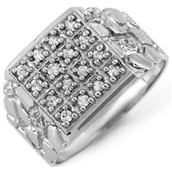 0.50 CTW Certified VS/SI Diamond Mens Ring 10K White Gold - REF-61W6H - 10578