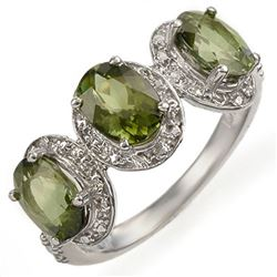 3.08 CTW Green Tourmaline & Diamond Ring 10K White Gold - REF-42M5F - 11053