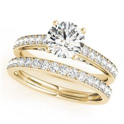 1.91 CTW Certified VS/SI Diamond Solitaire 2Pc Wedding Set 14K Yellow Gold - REF-401M5F - 31609