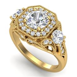 2.11 CTW VS/SI Diamond Solitaire Art Deco 3 Stone Ring 18K Yellow Gold - REF-472N8Y - 37330