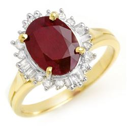 3.66 CTW Ruby & Diamond Ring 14K Yellow Gold - REF-62Y2N - 13688