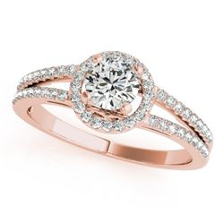 1 CTW Certified VS/SI Diamond Solitaire Halo Ring 18K Rose Gold - REF-196W9H - 26680