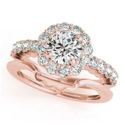 1.75 CTW Certified VS/SI Diamond 2Pc Wedding Set Solitaire Halo 14K Rose Gold - REF-404M9F - 31194