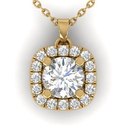 1.01 CTW Certified VS/SI Diamond Stud Halo Necklace 14K Yellow Gold - REF-169Y3N - 30425
